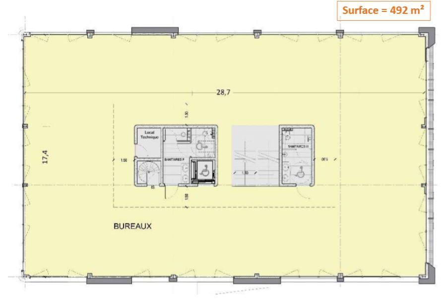Bureau de 492 m², Groslay (95410)
